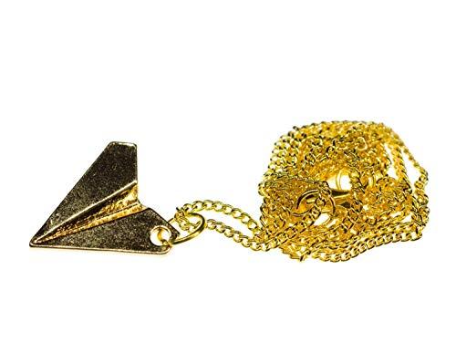 Miniblings Papierflieger Kette Halskette 60cm Faltkunst Origami Flieger golden