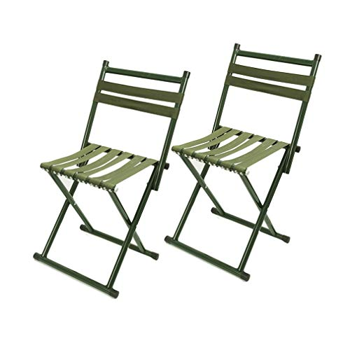 AGLZWY 2er Set Camping-Stühle Falten Draussen Hocker mit Rückenlehne Sitz Garten Kinderstühle Leicht Ideal für Wandern Angeln Festival BBQ Picknick (Farbe : Grün, größe : 31X29X70CM) -