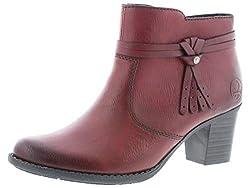 Rieker Damen Stiefeletten L7664, Frauen Ankle Boots, Freizeit Stiefel halbstiefel Bootie gefüttert Winterstiefeletten Damen,Wine,40 EU / 6.5 UK