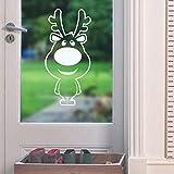 EdmendYang Cartoon Weihnachten Deer Weiß Wandaufkleber Für Weihnachten Dekoration Vinyl Aufkleber Wasserdicht Tiere Glastür Aufkleber