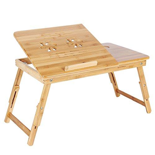 Opiniones songmics mesa para ordenador portatil de bambu - Mesa para ordenador portatil ...