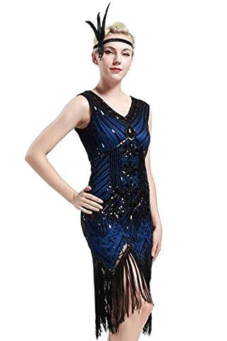 Babeyond robe flapper charleston vintage robe de bal robe de soirée robe de cocktail franges paillettes femme pour années 20 gatsby le magnifique étiquette S/36-38
