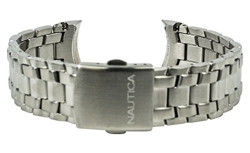 Nautica Ersatzband Uhrenarmband Edelstahl Band silbern A21558M / NST 02 / Ø 38mm / 28495