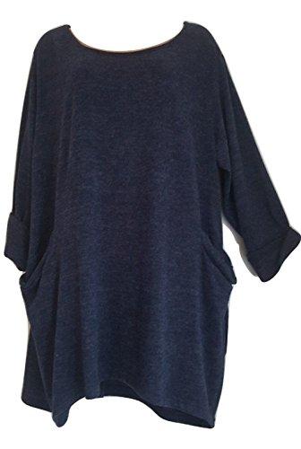 Accessorize-me - Top à manches longues - Femme Taille Unique Bleu