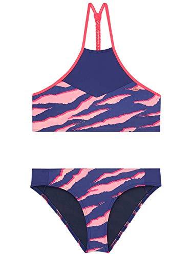 Print Bikini Set (O'Neill Mädchen PG High Neck Bikini Set, Blau All Over Print mit Pink/Lila, 164)
