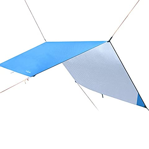 Hammock Rain Fly Tent Tarp 3m x 3m, Portable Lightweight Waterproof Camping Shelter Sunshade for Camping Outdoor Travel (Blue, 300*300cm)
