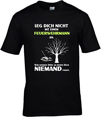 Fun Shirt Herren Leg Dich nicht mit einem Feuerwehrmann an Sprüche Feuerwehr Leg Dich niemals mit Schwarz