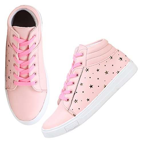 FASHIMO Latest Collection, Comfortable & Stylish Star Lazer Patent Ankle Length Long Boots for Women's and Girl's Light Pink