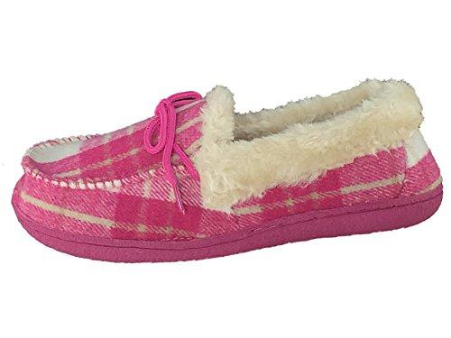 Meine Damen luxuriös Pink Tartan ausgekleidete Pelzkragen Mokassin Slipper 3 bis 8. Fuchsia