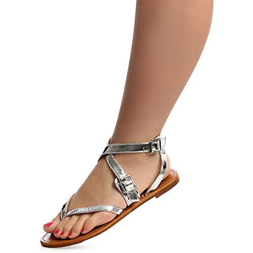 topschuhe24 , Tongs pour femme silver