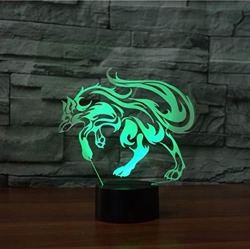 Nachtlicht 3D Optische Täuschung Lampe Schlaue Fuchs Led Usb Gebühr 7 Farben Baby Schlafzimmer Bücherregal Wohnkultur Acryl Kinderzimmer Geschenk