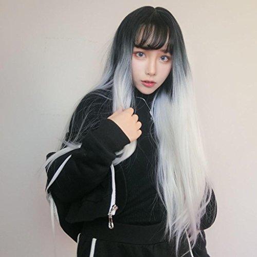 DZW Europa und die Vereinigten Staaten Perücke, Mode schwarz und weiß Steigung lange gerade Haar, Luft Banghai - realistische Perücke Sätze von 65CM