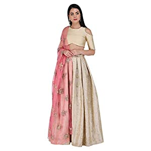 Amaira Gold Floral Embroidered Lehenga and Blouse with Pink Dupatta