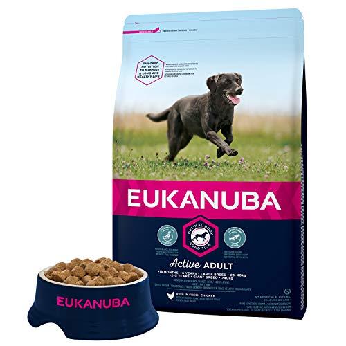 Eukanuba - Croquettes super Premium pour Chiens Adultes Grandes Races - Alimentation 100% Complète et Equilibrée - Sans protéines végétales cachées - sans OGM conservateurs arôme artificiel - Riche en Poulet frais - Sac refermable de 3kg