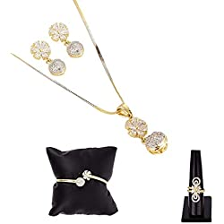 Zeneme Combo of Gold Plated White and American Diamond Pendant with Earrings, Bracelet and Ring for Women