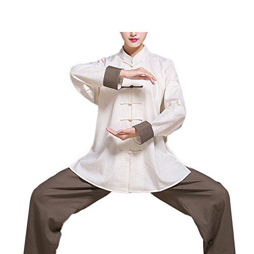 KIKIGOAL Unisex Tai Chi Anzug Kung Fu Uniformen Kampfsport Für Damen und Herren Baumwolle und Flachs Chinoiserie Sommer Herbst (XXL, Braun+Weiß)