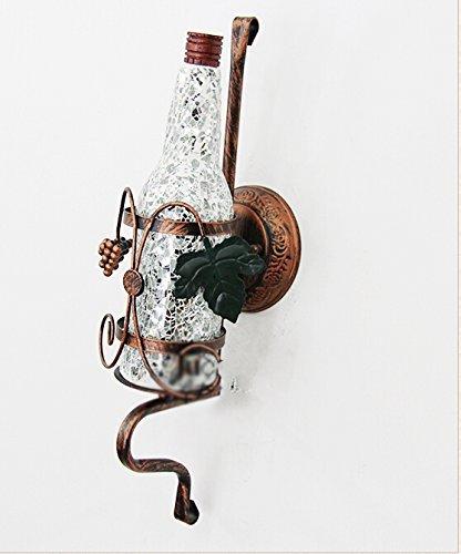 Lámpara de Pared Personalidad Creativa Café Retro Pasillo Industrial Lámpara de Pared con Botella de Vidrio de Color (Color: Plata)