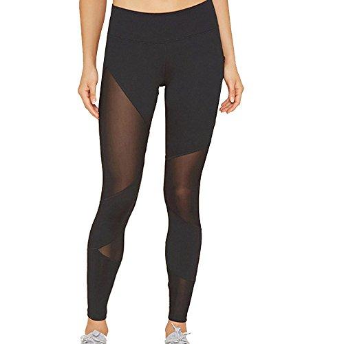 Vovotrade ☆☆Damen Ladies Tech Mesh Leggings Yoga Hose (Size:L, Schwarz3)