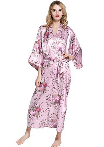BABEYOND Damen Morgenmantel Maxi Lang Seide Satin Kimono Kleid ...