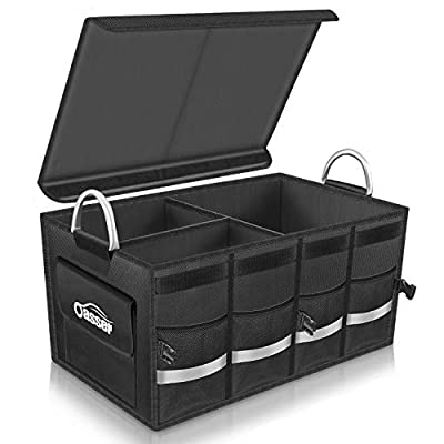 Oasser Car Boot Organiser Trunk Organiser Collapsible Waterproof Durable Multi Compartments with Sturdy Base Hook&Loop Fastener 1680D for Car Truck SUV & Indoor E3