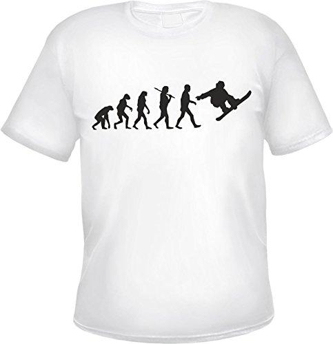 Evolution Snowboard Herren T-Shirt Snowboarder Weiß XL