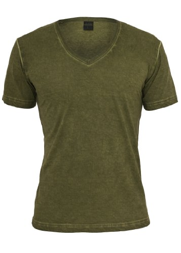 Urban Classics Spray Dye V-Neck T-Shirt, di colore verde oliva