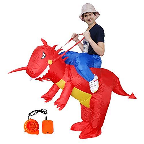 ASKEN Männer Frauen Aufblasbare Dinosaurier Kostüme Halloween Karneval Ridding Huckepack Drachen Cosplay Outfit Rot Adult ()