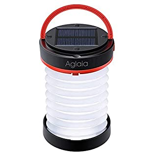 Aglaia Camping Lantern, Solar & USB Collapsible Rechargeable LED Lamp with 800mAh Power Bank and 3 Lighting Modes, IP44 Water-resistance for Hiking, Fishing, Tent and Outdoor Emergency