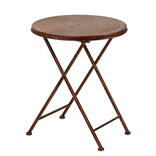 Salle à manger Tables Petite table basse Table pliante American Iron art Loisirs Petite table ronde Canapé Table d'appoint Côté balcon extérieur Portable (Couleur : A)