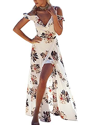 Creti Summer V Neck Strap Backless Floral Print Cocktail Party Beach Maxi Dresses