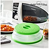 Appetitissime Tap It Tapa Plegable para Microondas, Silicona, Verde, 26.5 x 3/6/8 cm