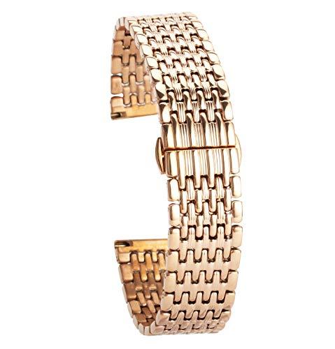 20mm Edelstahl-Uhrenarmband Roségold Uhrenarmband Ersatz für Herren