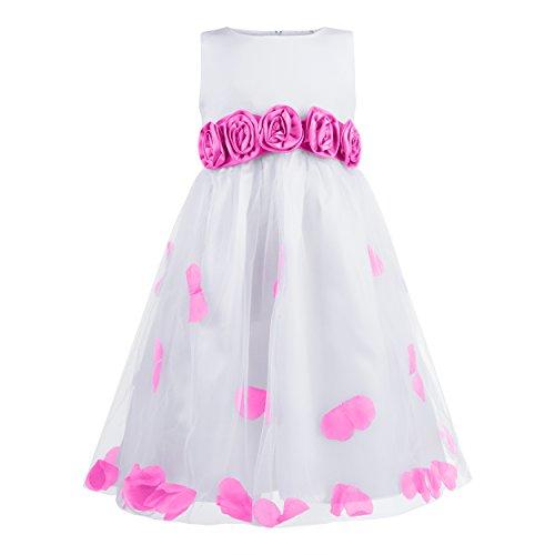 Katara - Robe de demoiselle d'honneur fille avec pétales et ceinture noeud en rose - robe de princesse pour baptême- première communion et céremonie - 7-8 ans