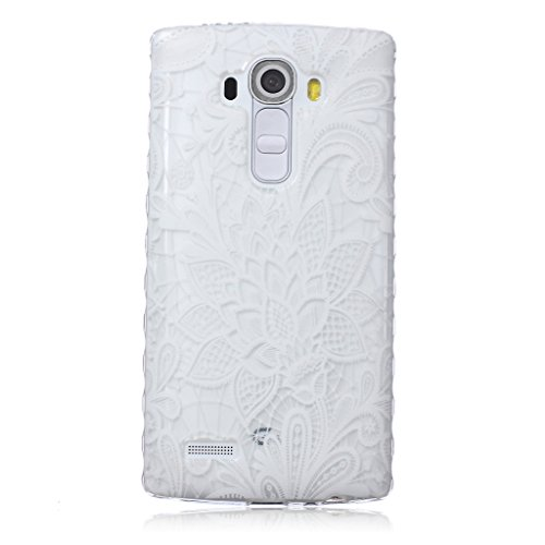 Price comparison product image For LG G4 Case [With Tempered Glass Screen Protector],idatog(TM) Soft Silicone Bumper Ultra Thin Slim Flexible Cover Case ,High Quality TPU with Colorful Cute Printed Pattern Fashion Design Protective Back Rubber Case Cover Shell Perfect Fitted For LG G4 (White rose)
