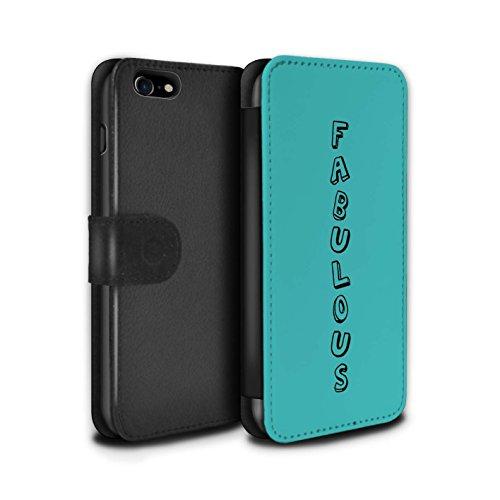 Stuff4 Coque/Etui/Housse Cuir PU Case/Cover pour Apple iPhone 7 / Bleu/Appelez-Moi Design / Mots Griffonnage Collection Bleu/Fabuleux