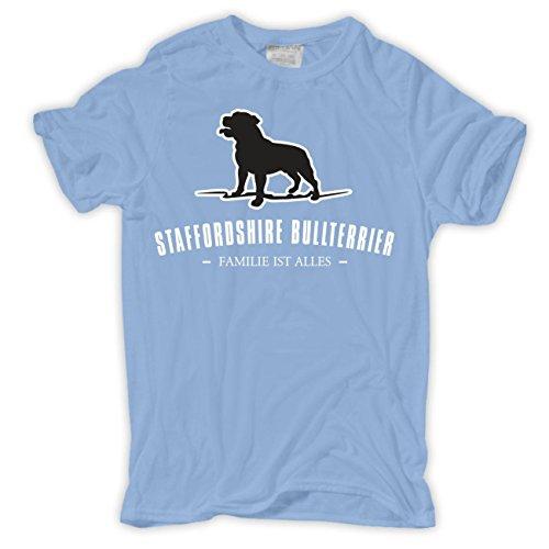 Männer und Herren T-Shirt Staffordshire Bullterrier - Familie ist alles Größe S - 8XL Hellblau