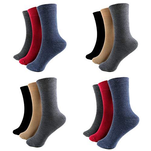 HighClassStyle 12 Paar Damen Socken Mädchen Freizeit Strümpfe ohne Gummi 85% Baumwolle Bunt Gr. 35-42 Art.80. (39-42, Uni (E-605))