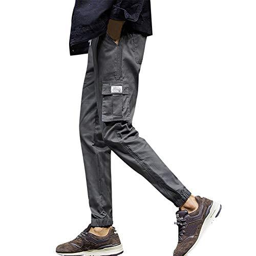 Geili Freizeithosen Sporthose Herren Lang Sweatpants Übergröße Modern Einfarbige Neun Punkte Hose Slim Fit Skinny Jogginghose Gym Fitness Jogger Trainingshose mit Gummiband M-7XL