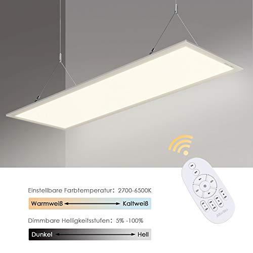 Albrillo Dimmbar LED Panel 120x30cm - 40W Deckenleuchte mit Einstellbar Farbtemperatur (2700-6500K), Superhell Bürolampe Inkl. Einstellbare Seilaufhängung, Montage Klemme, 360° Kontrolle Fernbedienung 360 Panel