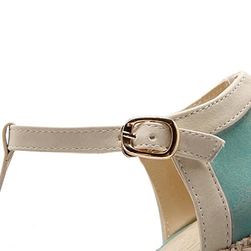 VogueZone009 Femme Rond à Talon Haut Boucle Couleurs Mélangées Chaussures Légeres Bleu