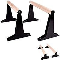 PULLUP & DIP Holz Parallettes, Low & Medium Minibarren Handstand Barren mit ergonomischem Holz Griff, Liegestützgriffe Push-up Bars für Calisthenics und Turnen, In- und Outdoor