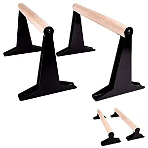 PULLUP & DIP Holz Parallettes, Low & Medium Minibarren Handstand Barren mit...