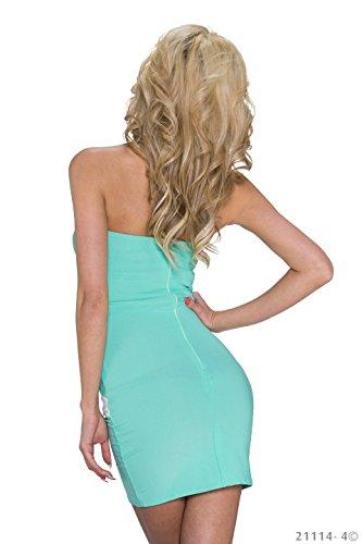 K1053 fashion4Young mini robe bandeau sans bretelles robe de soirée pour femme 3 coloris taille 34/36 Noir - Türkisgrün Weiß