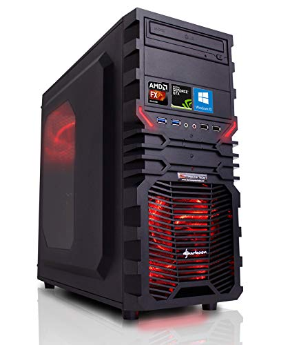 Gaming PC AMD, FX-8350 8x4.0 GHz, 16GB DDR3, 2TB HDD, GTX1050Ti 4GB, Windows 10, Spiele Computer Desktop Rechner