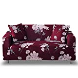 HOTNIU Stretch Sofa Cover 1-Piece Printed Couch Cover Sofa Slipcovers for Couches and Sofas Polyester Spandex Furniture Cover/Protector with Elastic Bottom & Anti-Slip Foam (3 Seater, Pattern #GSTX)