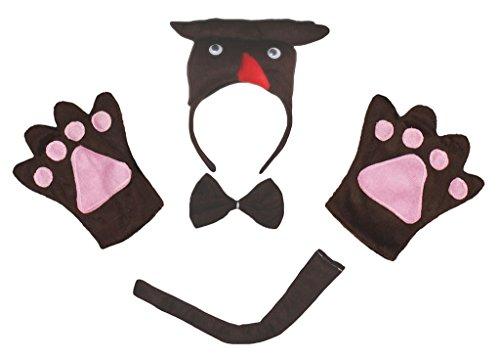 Petitebelle 3D Owl Tier Stirnband Bowtie Schwanz Handschuhe 4pc Kostüm für Erwachsene Einheitsgröße Braun