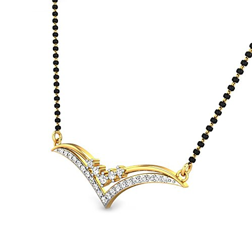 Candere By Kalyan Jewellers Aubrey 14k Yellow Gold and Diamond Mangalsutra Necklace