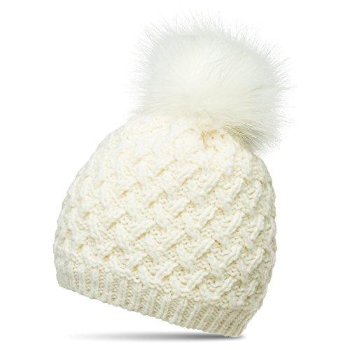 Caspar MU177 Damen Winter Mütze Strickmütze Bommelmütze mit großem Fellbommel, Größe:One Size, Farbe:weiss (off-white) -