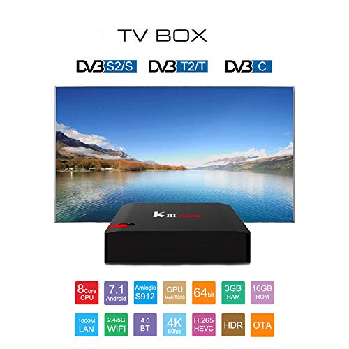 HCDMRE KIII PRO S912 3G+16G Android 7.1 3G RAM 16G ROM Amlogic S912 64 Bit Octa core ARM Cortex-A53 CPU 4K HD 2.4G/5G WiFi Network Set Top Box T2+S2 Netzwerk-Player mit DVB TV Box