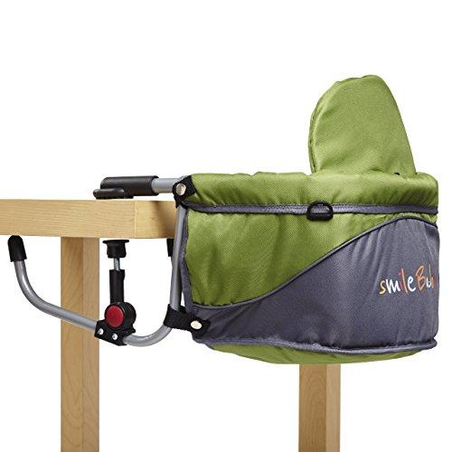 Smilebaby Tischsitz Babysitz faltbar Baby Hochstuhl Sitzerhöhung für zu Hause und unterwegs in Grün Grau